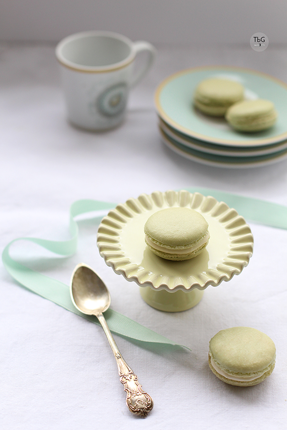 Macarons de vainilla color verde Ladureé. Receta.